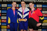 PICTURE BY ALEX BROADWAY/SWPIX.COM - Synchronised Swimming - British Gas Synchronised Swimming Championships 2012 - GL1 Leisure Centre, Gloucester, England - 25/03/12 - Rosie Barrington of City of Leeds SSC, Rhiannon Williams of Reading Royals SSC and Isobel Collings of Bristol Central SC pose with their medals from the Solo Final.