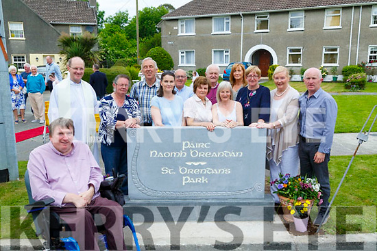 Cllr Terry O'Brien who unveiled a new sign for Brendan's Park,Tralee on Sunday were residents of teh park gathered to witness the unveiling.