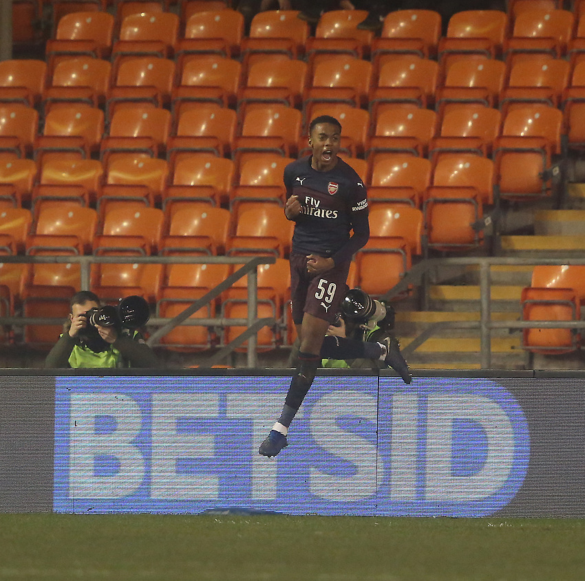 Arsenal's Joe Willock celebrates his goal<br /> <br /> Photographer Stephen White/CameraSport<br /> <br /> Emirates FA Cup Third Round - Blackpool v Arsenal - Saturday 5th January 2019 - Bloomfield Road - Blackpool<br />  <br /> World Copyright © 2019 CameraSport. All rights reserved. 43 Linden Ave. Countesthorpe. Leicester. England. LE8 5PG - Tel: +44 (0) 116 277 4147 - admin@camerasport.com - www.camerasport.com