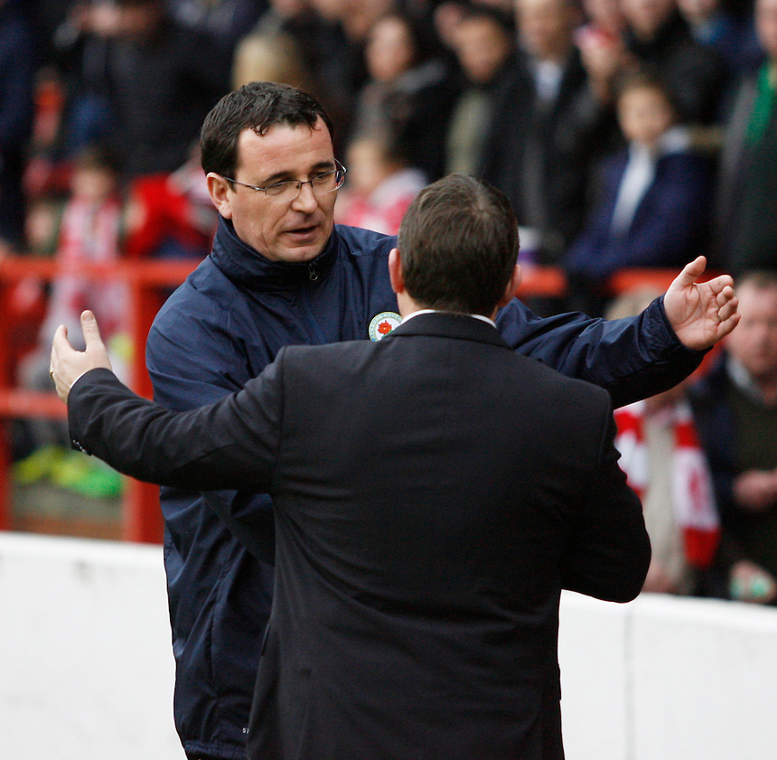 Nottingham Forest's Manager Billy Davies and Blackburn manager Gary Bowyer (L) before the match<br /> <br /> Photo by Jack Phillips/CameraSport<br /> <br /> Football - The Football League Sky Bet Championship - Nottingham Forest v Blackburn Rovers - Saturday 18th January 2014 - The City Ground - Nottingham<br /> <br /> &copy; CameraSport - 43 Linden Ave. Countesthorpe. Leicester. England. LE8 5PG - Tel: +44 (0) 116 277 4147 - admin@camerasport.com - www.camerasport.com