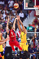Washington, DC - August 17, 2018: Washington Mystics guard Natasha Cloud (9) hits the game winning shot over Los Angeles Sparks guard Alana Beard (0) with no seconds remaining on the clock of game between the Washington Mystics and Los Angeles Sparks at the Capital One Arena in Washington, DC. (Photo by Phil Peters/Media Images International)