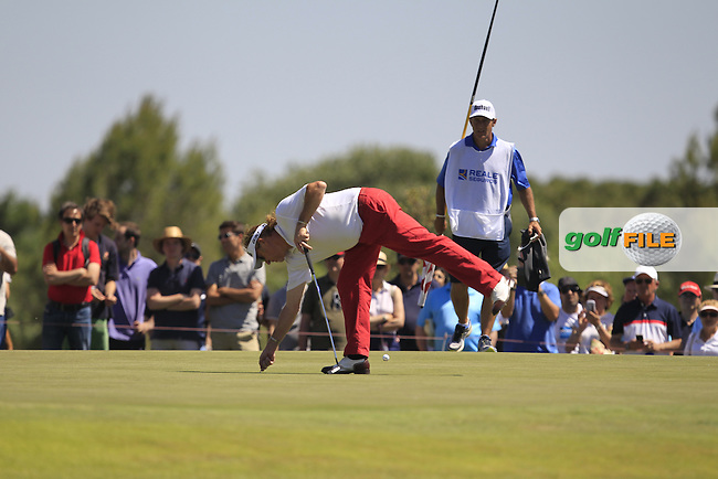 Miguel Angel Jimenez (ESP) on the 16th green during Round 4 of the Open de Espana  in Club de Golf el Prat, Barcelona on Sunday 17th May 2015.<br /> Picture:  Thos Caffrey / www.golffile.ie