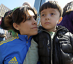 (Boston Ma., 042713) Ursula Calderon of Winthrope,with  her son Sebastian, 6, at the memorial on Boylston Street in Boston.  (Jim Michaud Photo) for Sunday