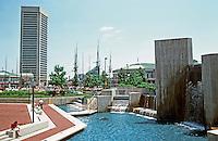 Baltimore:  #1.  Inner Harbor--General Sam Smith Park, World Trade Center (left background).  Photo '85.