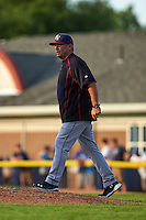Mahoning Valley Scrappers pitcher Greg Hibbard (37) walks to the mound for a visit during a game against the Batavia Muckdogs on July 3, 2015 at Dwyer Stadium in Batavia, New York.  Batavia defeated Mahoning Valley 7-4.  (Mike Janes/Four Seam Images)