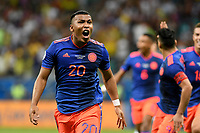 SALVADOR – BRASIL, 15-06-2019:  Roger Martinez de Colombia celebra después de anotar el primer gol de su equipo durante partido de la Copa América Brasil 2019, grupo B, entre Argentina y Colombia jugado en el Itaipava Fonte Nova Arena de la ciudad de Salvador, Brasil. / Roger Martinez of Colombia celebrates after scoring the first goal of his team during the Copa America Brazil 2019 group B match between Argentina and Colombia played at Itaipava Fonte Nova Arena in Salvador, Brazil. Photos: VizzorImage / Julian Medina / Cont / FCF