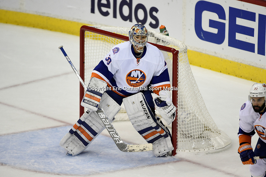April 23, 2015 - Washington D.C., U.S. - New York Islanders goalie Michal Neuvirth (30) guards the net after replacing goalie Jaroslav Halak (41) in the 3rd period of game 5 of the  NHL Eastern Conference Quarter finals between the New York Islanders and the Washington Capitals held at the Verizon Center in Washington DC. The Capitals defeat the Islanders 5-1 in regulation time to take the lead in the 7 game series 3-2. Eric Canha/CSM