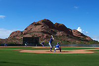 General view of Kansas City Royals pitcher Garrett Davila (17) delivering a pitch during an instructional league intersquad game on October 21, 2015 at the Papago Baseball Facility in Phoenix, Arizona.  (Mike Janes/Four Seam Images)