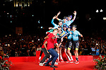 Astana Pro Team winners of the team classification on the podium at the end of the final Stage 21 of the 2017 La Vuelta, running 117.6km from Arroyomolinos to Madrid, Spain. 10th September 2017.<br /> Picture: Unipublic/&copy;photogomezsport | Cyclefile<br /> <br /> <br /> All photos usage must carry mandatory copyright credit (&copy; Cyclefile | Unipublic/&copy;photogomezsport)