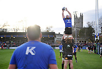 Dave Attwood of Bath Rugby rises high to win lineout ball during the pre-match warm-up. European Rugby Champions Cup match, between Bath Rugby and Leinster Rugby on November 21, 2015 at the Recreation Ground in Bath, England. Photo by: Patrick Khachfe / Onside Images