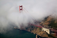 aerial photograph Golden Gate bridge fog, San Francisco, California