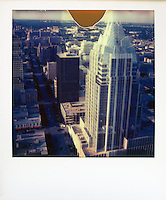Polaroid instant color picture of Austin's famous Frost Bank Tower beacon of the Austin skyscrapers and the ever growing downtown Austin, Skyline - Stock Image.