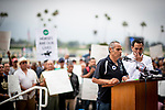 JUNE 20: Dagoberto Lopez shares his experiences as he's worked on the backside for 35 years. He has the support backstretch workers behind him rallying at Santa Anita Park to show how many lives are impacted by the horse racing industry in California in Arcadia, California on June 20, 2019. Evers/Eclipse Sportswire/CSM