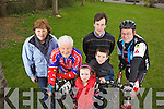 Getting ready for the annual Limerick Charity Cycle was Hannah Carmody(Brothers of Charity, Listowel), Denny Mulvihill(Athea) Mike Sheahan(Brothers of Charity, Newcastlewest), Aoife and Eoin Sheahan and Seamus Ahern(Athea) pictured here last Saturday afternoon in Athea village ahead of the April 29th start.