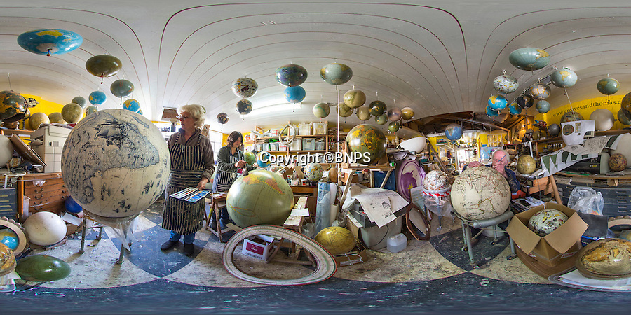 BNPS.co.uk (01202 558833)<br /> Pic: PhilYeomans/BNPS<br /> <br /> 360 Panorama.<br /> <br /> Take a look around the Dickensian workshop of Greaves & Thomas globemakers from Ryde on the IOW.<br /> <br /> Greaves & Thomas revived the traditional craft of globe making in the United Kingdom in 1991, crafting globes in the traditional way, using plaster spheres, which are hand papered and hand painted, then aged to produce an authentic  facsimile globes which range in size from just 2 inches to a whopping 5 feet in diameter.