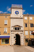 Venetian clock tower gate in Cres Town, Cres Island, Croatia