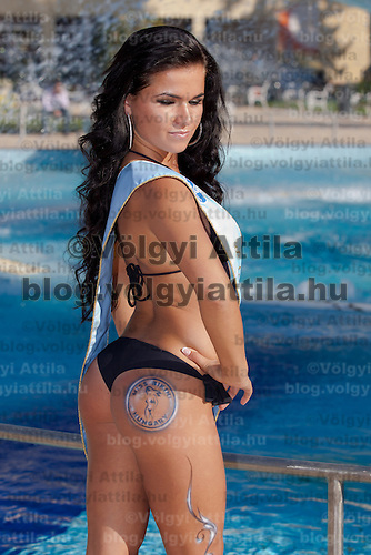 Eliza Levai winner of the prize for the most beautiful bottom placed third during the Miss Bikini Hungary beauty contest held in Budapest, Hungary on August 29, 2010. ATTILA VOLGYI