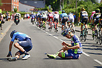 Another crash as Mikel Landa (ESP) Movistar Team and Dion Smith (NZL) Wanty-Groupe Gobert hit the tarmac during Stage 9 of the 2018 Tour de France running 156.5km from Arras Citadelle to Roubaix, France. 15th July 2018. <br /> Picture: ASO/Pauline Ballet | Cyclefile<br /> All photos usage must carry mandatory copyright credit (&copy; Cyclefile | ASO/Pauline Ballet)