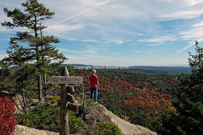 Hiker on the Perpendicular Trail, Acadia National Park, Maine, USA