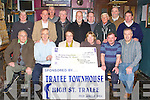 CHEQUE PRESENTATION: The Aidan O'Connor and Timmy Barrett (captain) with other member's of the Greyhound Bar Golf Society presenting a cheque to Nicole Ryan and Sheila Fitzgerald of Recovery Haven, Haigs Terrace, Tralee with monies raised from their Charity outing at the 2010 October Bank Holiday weekend at the Greyhound bar, Tralee on Thursday seated l-r: Owen O'Sullivan, Aidan O'Connor, Nicole Ryan (Recovery Haven), Sheila Fitzgerald (Recovery Haven), Timmy Barrett (captain) and James O'Shea (sponsor). Back l-r: Johnny Conway, Charlie Irwin, Eddie Wall, Richie Barry, Brian Tess, Mike Tangney, Donnie Houlihan, Barney Barnes (Recovery Haven) and Bernard (Pop) Lynch.