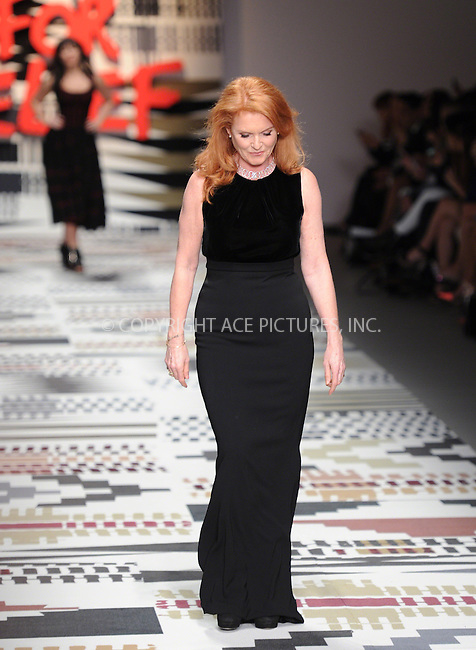 WWW.ACEPIXS.COM<br /> <br /> February 19 2015, London<br /> <br /> Sarah Ferguson walks the runway at the Fashion For Relief charity fashion show to kick off London Fashion Week 2015 at Somerset House on February 19 29015 in London<br /> <br /> By Line: Famous/ACE Pictures<br /> <br /> <br /> ACE Pictures, Inc.<br /> tel: 646 769 0430<br /> Email: info@acepixs.com<br /> www.acepixs.com