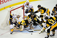 May 29, 2017: Nashville Predators center Vernon Fiddler (83)  fights to get the puck past Pittsburgh Penguins goalie Matt Murray (30) during game one of the National Hockey League Stanley Cup Finals between the Nashville Predators  and the Pittsburgh Penguins, held at PPG Paints Arena, in Pittsburgh, PA.   Eric Canha/CSM