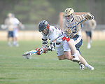 Ole MIss' Patrick Fulton (36) vs. Georgia Tech's Joseph Burton (13) in lacrosse at the Ole Miss Intramural Fields in Oxford, Miss. on Saturday, February 2, 2013. Georgia Tech won 8-5.