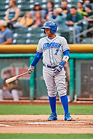 Ramon Torres (2) of the Omaha Storm Chasers bats against the Salt Lake Bees in Pacific Coast League action at Smith's Ballpark on May 8, 2017 in Salt Lake City, Utah. Salt Lake defeated Omaha 5-3. (Stephen Smith/Four Seam Images)