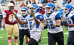 WATERBURY,  CT-101219JS28- Crosby's (7) celebrates his interception in the second quarter of their game against Sacred Heart-Kaynor Saturday at Municipal Stadium in Waterbury.<br /> Jim Shannon Republican-American