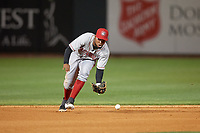 Chattanooga Lookouts shortstop Alfredo Rodriguez (35) fields a ground ball during a Southern League game against the Birmingham Barons on May 2, 2019 at Regions Field in Birmingham, Alabama.  Birmingham defeated Chattanooga 4-2.  (Mike Janes/Four Seam Images)