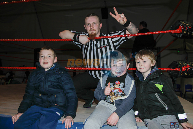 Sean White, Adam Peacock and Mickie Nagle during the American Wrestling in Funtasia Bettystown on Saturday 22nd February 2014.<br /> Picture:  Thos Caffrey / www.newsfile.ie
