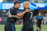 San Jose, CA - Tuesday June 11, 2019: Chris Wondolowski #8 celebrates the goal of Magnus Eriksson #7 during the US Open Cup match between the San Jose Earthquakes and Sacramento Republic FC at Avaya Stadium.