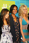 Guiding Light's Sharon Leal in in the new Hellcats with castmates Ashley Tisdale and Aly Michalka at The CW Upfront 2010 green carpet arrivals on May 20, 2010 at Madison Square Gardens, New York, New York. (Photo by Sue Coflin/Max Photos)