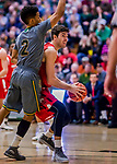 18 February 2018: Hartford University Hawk Forward GeorgeBlagojevic, a Junior from Geelong, Victoria, Australia, in action against the University of Vermont Catamounts at Patrick Gymnasium in Burlington, Vermont. The Catamounts fell to the Hawks 69-68 in their America East Conference matchup. Mandatory Credit: Ed Wolfstein Photo *** RAW (NEF) Image File Available ***
