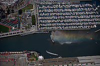 aerial photograph fireboat McCovey Cove Giants stadium Beijing Olympic torch relay ceremony San Francisco, California