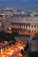 Colosseum and Via dei Fori Imperiali at twilight, Rome, Italy Colosseum, Rome, Italy