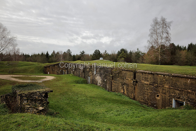 The Ouvrage de Froideterre, a small fort holding 200 men with 2 machine gun turrets and 2 observation turrets, Verdun, Meuse, Lorraine, France. This replaced an earlier construction, Ouvrage A, built 1887-88. Froideterre protected the Meuse and the road to Montmedy and saw heavy bombardment in the Battle of Verdun in World War One. Picture by Manuel Cohen