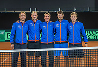 The Hague, The Netherlands, September 13, 2017,  Sportcampus , Davis Cup Netherlands - Chech Republic,  Dutch team, Ltr:  Matwe Middelkoop, Thiemo de Bakker, Captain Paul Haarhuis, Robin Haase and Tallon Griekspoor,<br /> Photo: Tennisimages/Henk Koster
