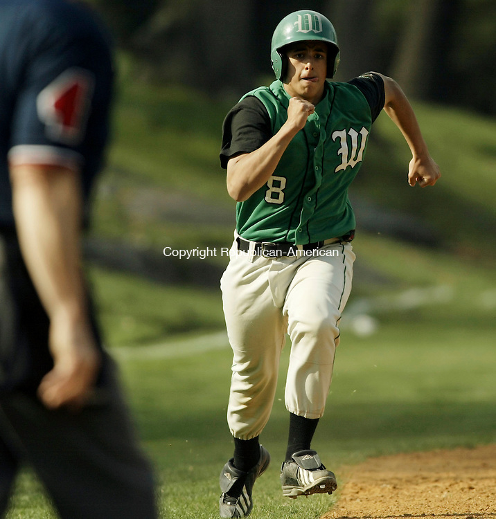 SEYMOUR, CT - 29 APRIL 2005 - 042905JS02--Wilby's Bobby Wilcher (8) heads home to score during their game against Seymour Friday at French Field in Seymour.<br /> --Jim Shannon Photo --Bobby Wilcher; Seymour; Wilby are CQ