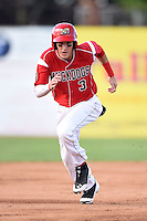 Batavia Muckdogs outfielder Ryan Aper (3) running the bases during a game against the Williamsport Crosscutters on July 27, 2014 at Dwyer Stadium in Batavia, New York.  Batavia defeated Williamsport 6-5.  (Mike Janes/Four Seam Images)