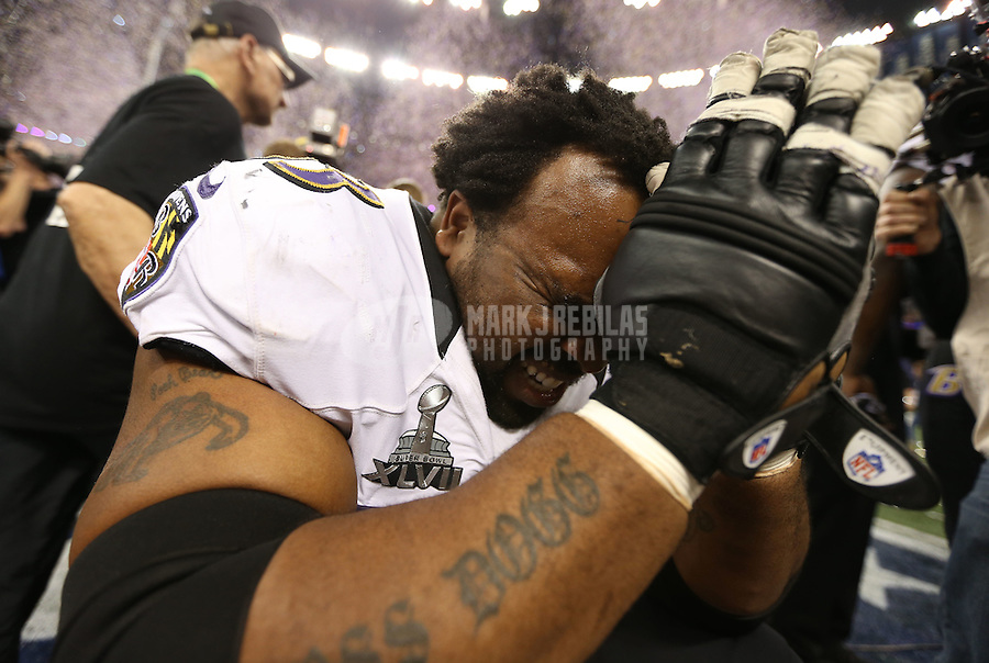 Feb 3, 2013; New Orleans, LA, USA; Baltimore Ravens guard Bobbie Williams (63) celebrates after defeating the San Francisco 49ers in Super Bowl XLVII at the Mercedes-Benz Superdome. Mandatory Credit: Mark J. Rebilas-