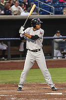 Wisconsin Timber Rattlers outfielder Elvis Rubio (17) during a Midwest League game against the Quad Cities River Bandits on May 8th, 2015 at Modern Woodmen Park in Davenport, Iowa.  Quad Cities defeated Wisconsin 11-6.  (Brad Krause/Four Seam Images)