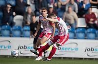 Jason Cowley of Stevenage fires a shot on goal for Stevenage during Colchester United vs Stevenage, Sky Bet EFL League 2 Football at the JobServe Community Stadium on 5th October 2019