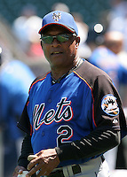 New York Mets coach Sandy Alomar Sr. before a game against the Chicago Cubs at Wrigley Field on July 15, 2006 in Chicago, Illinois.  (Mike Janes/Four Seam Images)