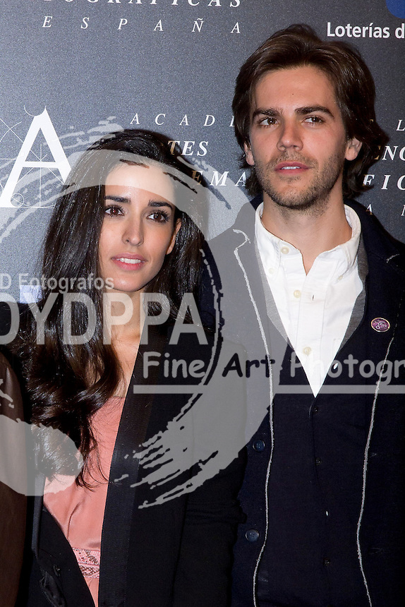 28/01/2012. Real Casa de Correos. Madrid. Spain. Goya Awards Nominated Gala 2012. Inma cuesta and Marc Clotet