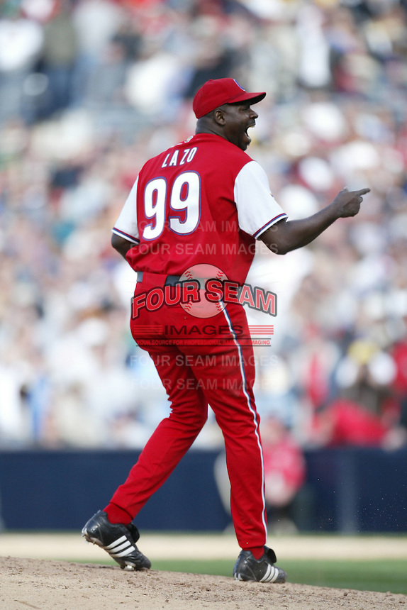 Pedro Luis Lazo of the Cuban national team during game against the Dominican Republic team during the World Baseball Championships at Petco Park in San Diego,California on March 18, 2006. Photo by Larry Goren/Four Seam Images