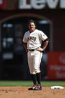 SAN FRANCISCO, CA - JULY 28:  Ryan Theriot #5 of the San Francisco Giants stands on the field against the Los Angeles Dodgers during the game at AT&T Park on Saturday, July 28, 2012 in San Francisco, California. Photo by Brad Mangin