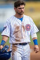 South Bend Cubs first baseman Levi Jordan (5) in action against the Lake County Captains on May 30, 2019 at Four Winds Field in South Bend, Indiana. The Captains defeated the Cubs 5-1.  (Andrew Woolley/Four Seam Images)