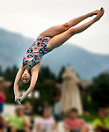 Willow Creek's Jillian Combs competes during the 53rd annual Country Club League diving championships Wednesday, Aug. 8, 2012, in Sandy, Utah. (© 2012 Douglas C. Pizac)