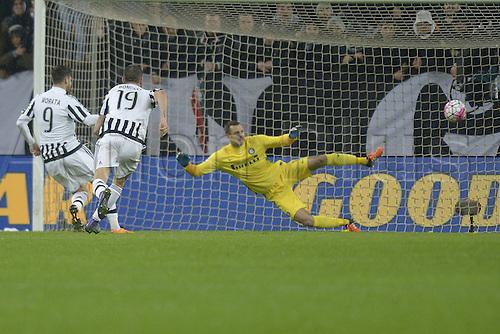 28.02.2016. Juventus Stadium, Turin, Italy. Serie A Football. Juventus versus Inter Milan. Penalty kick goal scored by Alvaro Morata (Juve) for 2-0